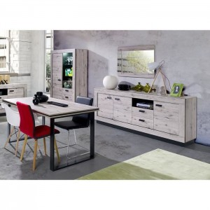 PRICE FACTORY - Buffet, bahut grand modèle MALA coloris chêne willington