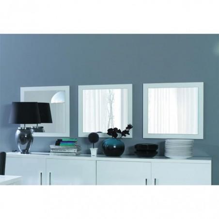 Lot de 3 miroirs ALPENS. Cadre blanc cerusé effet bois. Accessoire idéal pour la décoration de votre habitation