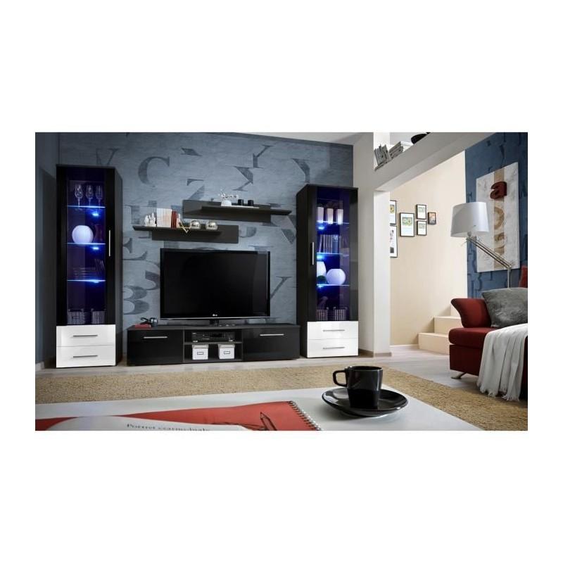 Salon meuble tv galino c design coloris noir et blanc brillant me for Meuble salon noir et blanc