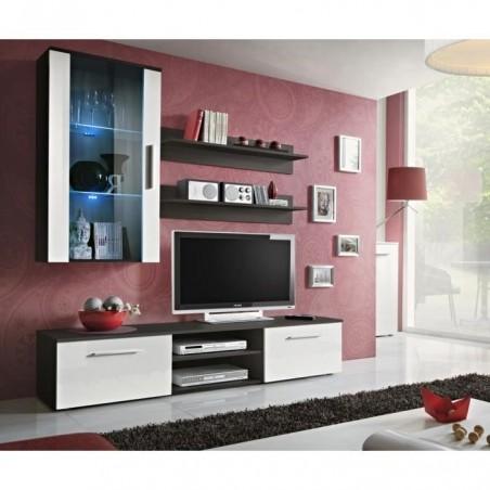 Meuble TV GALINO E design, coloris wengé et blanc. Meuble moderne et tendance pour votre salon.
