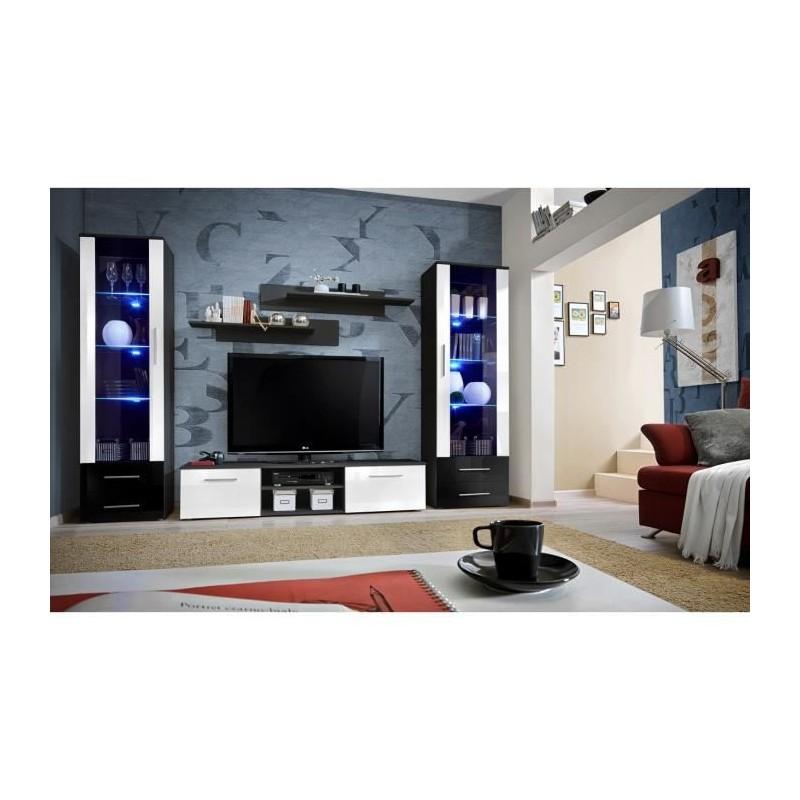 Salon Meuble Tv Galino C Design Coloris Noir Et Blanc Brillant Me