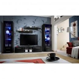 Meuble TV GALINO C design, coloris noir brillant. Meuble moderne et tendance pour votre salon.
