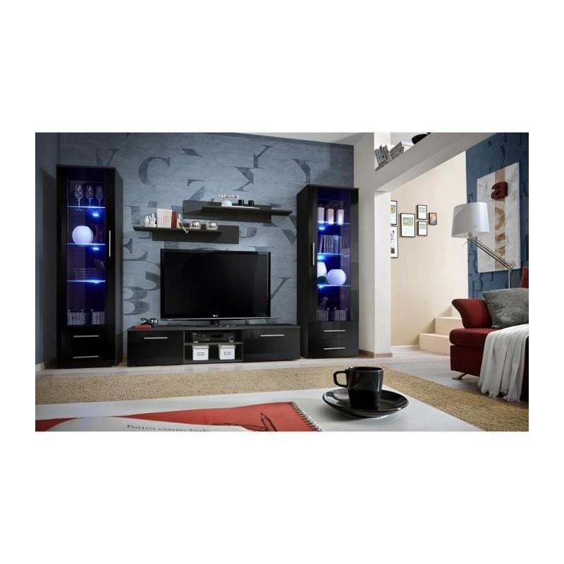 Meuble TV GALINO C design, coloris noir brillant. Meuble moderne et...