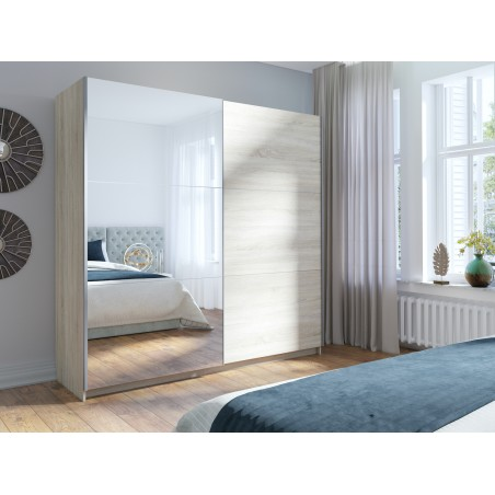 Armoire, garde robe ARSALA 200 cm deux portes coulissantes. Dressing complet avec miroir, penderie et étagères. Type scandinave