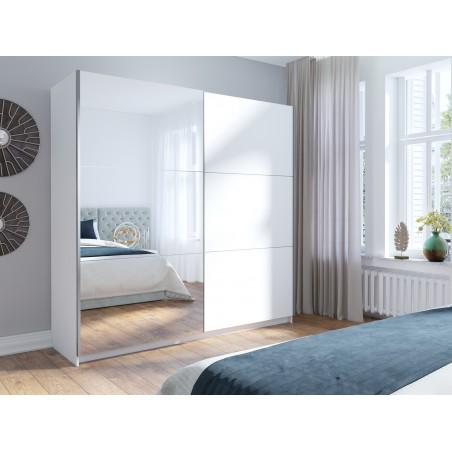Armoire, garde robe ARSALA 200 cm deux portes coulissantes. Dressing complet avec miroir, penderie et étagères. Coloris blanc