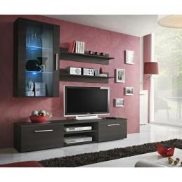 Meuble TV GALINO E design, coloris wengé. Meuble moderne et tendance pour votre salon.