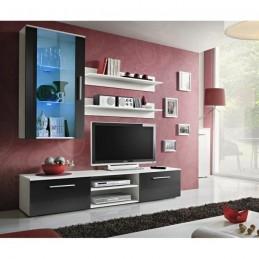 Meuble TV GALINO E design, coloris blanc mat. Meuble moderne et tendance pour votre salon.