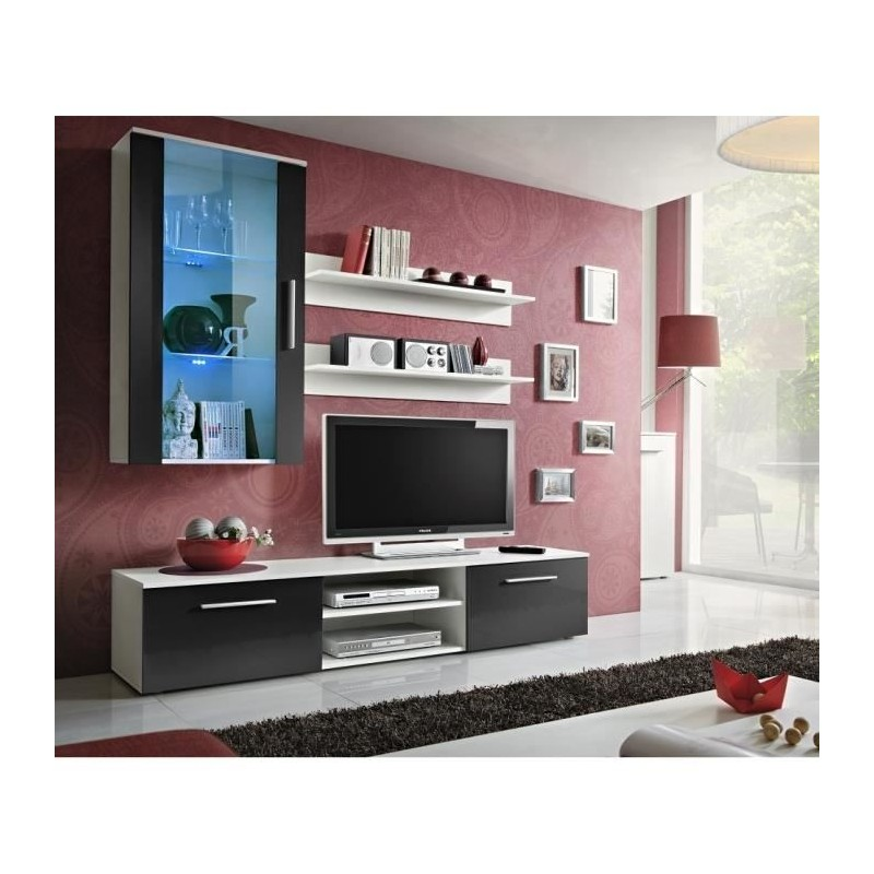 ENSEMBLE COMPLET Meuble TV GALINO E design, coloris blanc mat. Meub...