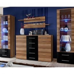"Ensemble Bibliothèque & Commode ""Galino IV Wood"" Noir & Brun"