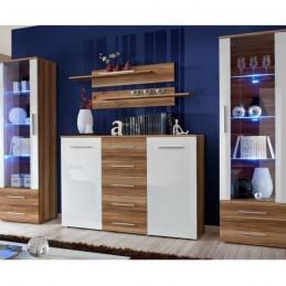 "Ensemble Bibliothèque & Commode ""Galino IV Wood"" Blanc & Brun Marron"