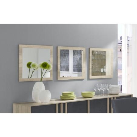 Lot de 3 miroirs MALMO. Cadre coloris chêne clair, sonoma. Accessoire idéal pour la décoration de votre habitation.