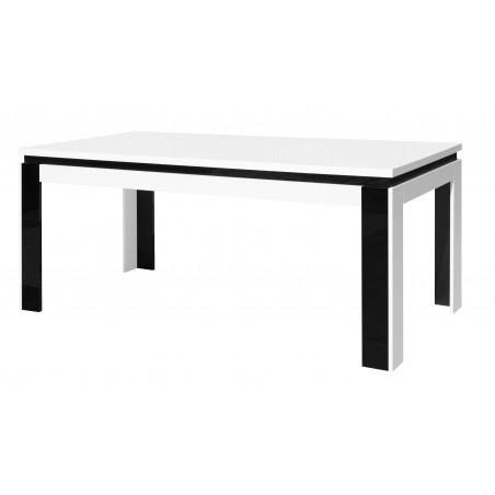 Table salle à manger LINA 180cm . Coloris blanc. Table 6 personnes brillante noire et blanche . Design moderne.