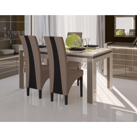 Table de salle à manger LINA 180cm. Coloris CAPPUCCINO et blanc crème. Idéal pour votre salle à manger.