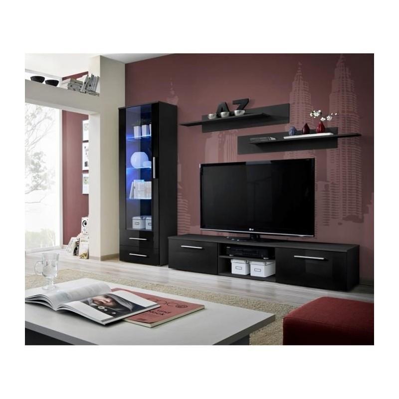 Meuble TV GALINO A design, coloris noir brillant. Meuble moderne et...