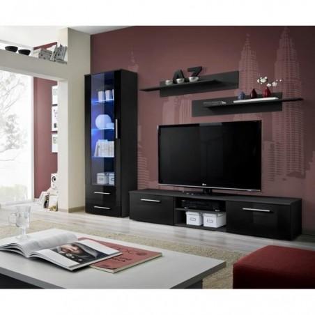 Meuble TV GALINO A design, coloris noir brillant. Meuble moderne et tendance pour votre salon.