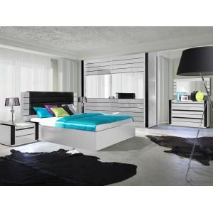 Lit double 180 cm avec option coffre LINA. Coloris blanc et noir brillant avec une finition en simili cuir. Sommier inclus
