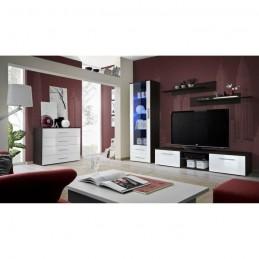 Meuble TV GALINO B design, coloris wengé et blanc brillant. Meuble moderne et tendance pour votre salon.