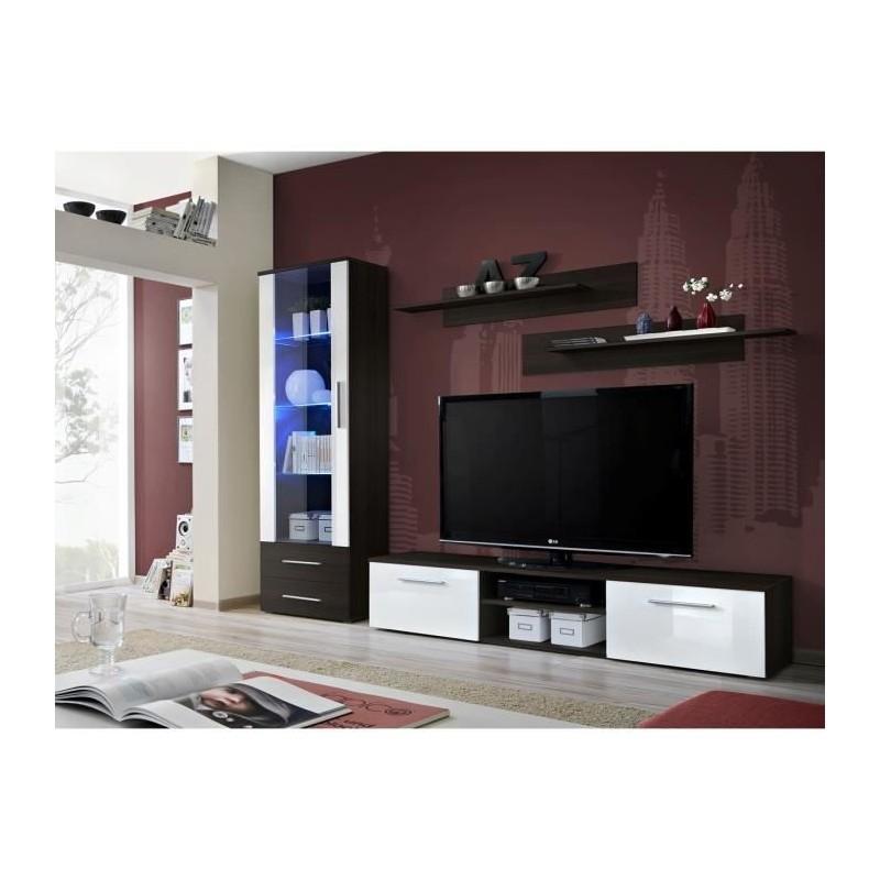 SALON Meuble TV GALINO A design, coloris wengé et blanc brillant. M...