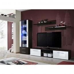 Meuble TV GALINO A design, coloris wengé et blanc brillant. Meuble moderne et tendance pour votre salon.