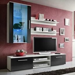 """Meuble TV Mural Design """"Galino V White"""" Noir"""