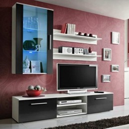 "Meuble TV Mural Design ""Galino V White"" Noir"