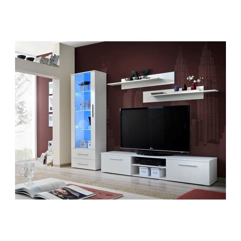 Meuble TV GALINO design, coloris blanc mat. Meuble moderne et tendance pour votre salon.