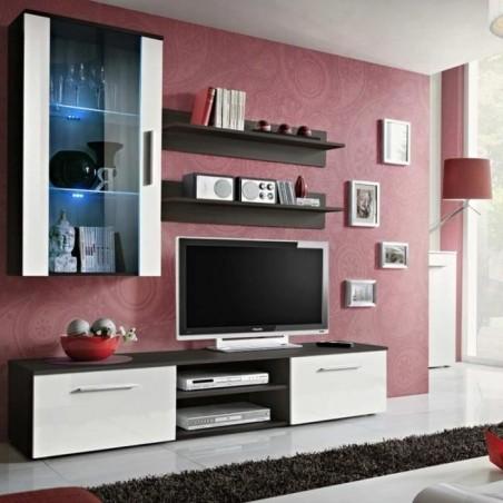 Meuble TV Mural Design Galino V Coffee Blanc et Wengé