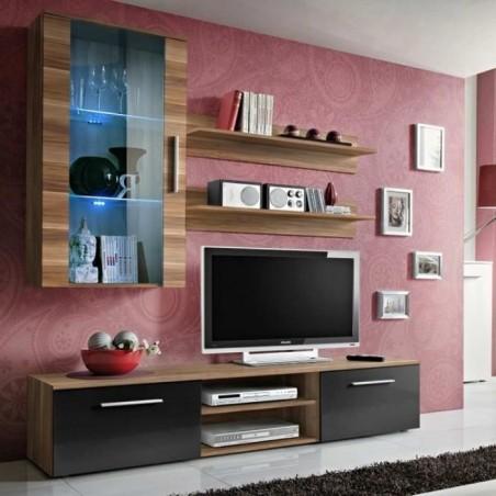 Meuble TV Mural Design Galino V Wood Noir et Brun