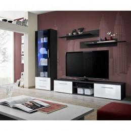 Meuble TV GALINO A design, coloris noir et blanc brillant. Meuble moderne et tendance pour votre salon.
