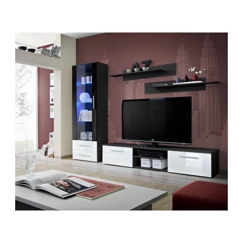 meuble tv galino a design coloris noir et blanc brillant meuble m. Black Bedroom Furniture Sets. Home Design Ideas