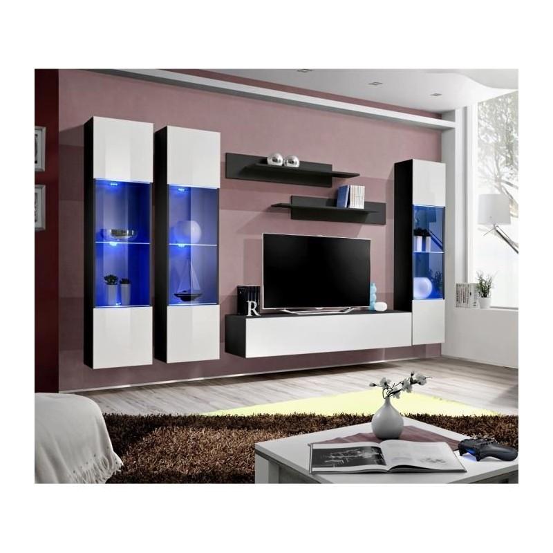 Meuble tv fly c3 design coloris noir et blanc brillant meuble sus for Meuble salon noir et blanc