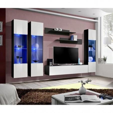 Meuble TV FLY C3 design, coloris noir et blanc brillant. Meuble suspendu moderne et tendance pour votre salon.