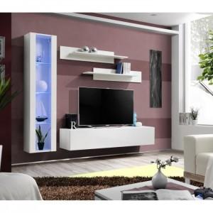 Meuble TV FLY G2 design, coloris blanc brillant. Meuble suspendu moderne et tendance pour votre salon.