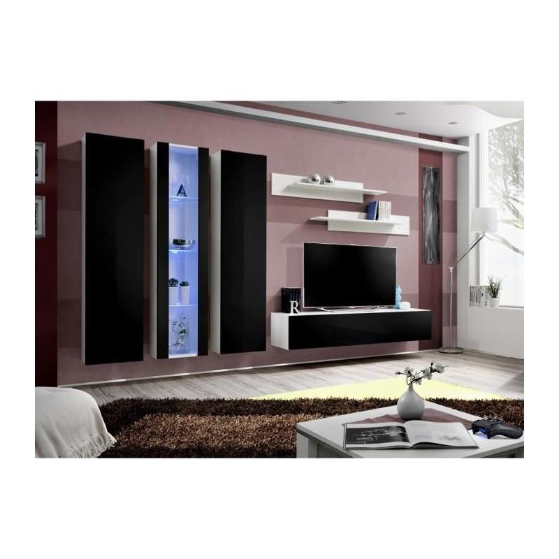Meuble TV FLY C4 design, coloris blanc et noir brillant. Meuble suspendu moderne et tendance pour votre salon.