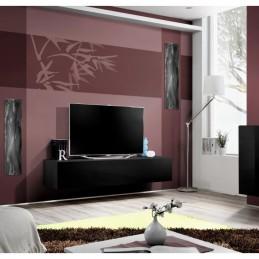 Meuble TV FLY design, coloris noir brillant. Meuble suspendu moderne et tendance pour votre salon.