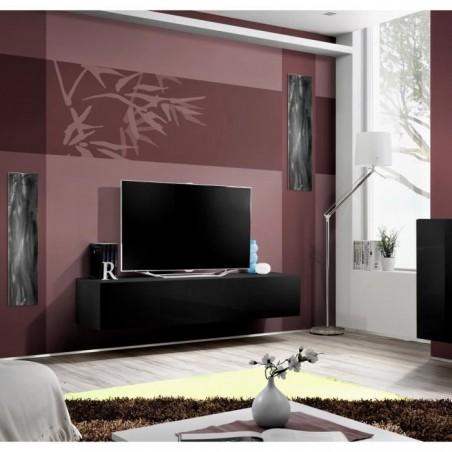 Meuble TV suspendu de la collection FLY design, coloris noir brillant.