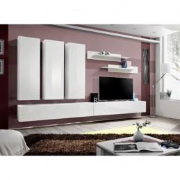 Meuble TV FLY E1 design, coloris blanc brillant. Meuble suspendu moderne et tendance pour votre salon.