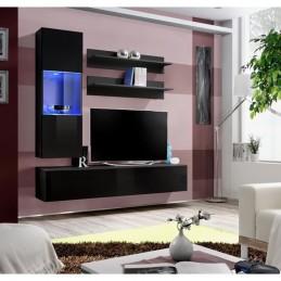 Meuble TV FLY H3 design, coloris noir brillant. Meuble suspendu moderne et tendance pour votre salon.