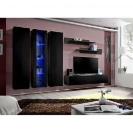 Meuble TV FLY C4 design, coloris noir brillant. Meuble suspendu moderne et tendance pour votre salon.