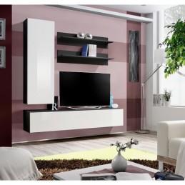 Meuble TV FLY H1 design, coloris noir et blanc brillant. Meuble suspendu moderne et tendance pour votre salon.