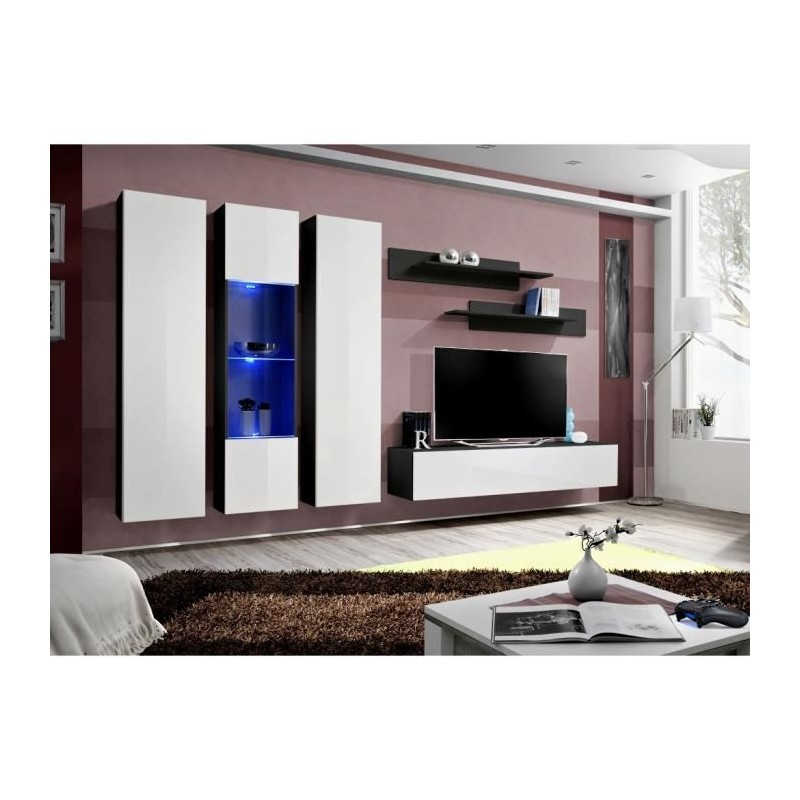 Salon meuble tv fly c5 design coloris noir et blanc brillant meub for Meuble salon noir et blanc
