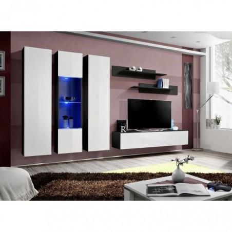 Meuble TV FLY C5 design, coloris noir et blanc brillant. Meuble suspendu moderne et tendance pour votre salon.