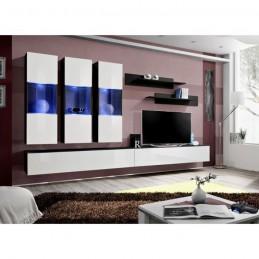 Meuble TV FLY E2 design, coloris noir et blanc brillant. Meuble suspendu moderne et tendance pour votre salon.