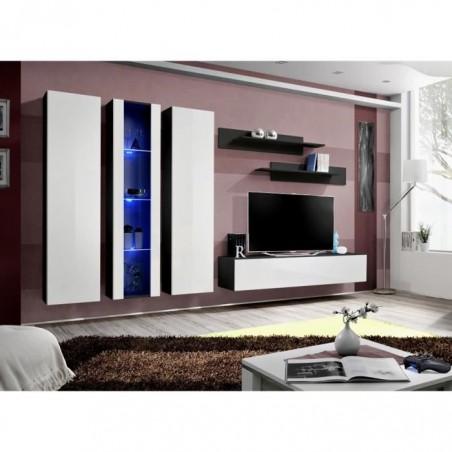 Meuble TV FLY C4 design, coloris noir et blanc brillant. Meuble suspendu moderne et tendance pour votre salon.