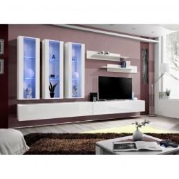 Meuble TV FLY E3 design, coloris blanc brillant. Meuble suspendu moderne et tendance pour votre salon.