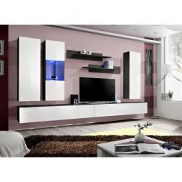 Meuble TV FLY E5 design, coloris noir et blanc brillant. Meuble suspendu moderne et tendance pour votre salon.