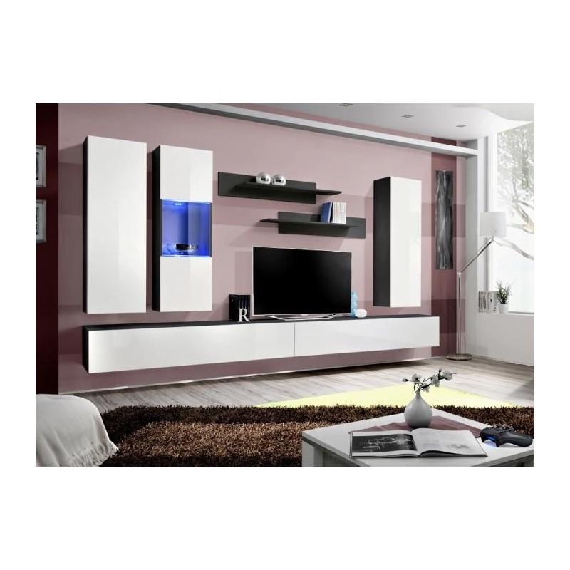 Salon meuble tv fly e5 design coloris noir et blanc brillant meub - Meuble salon noir et blanc ...