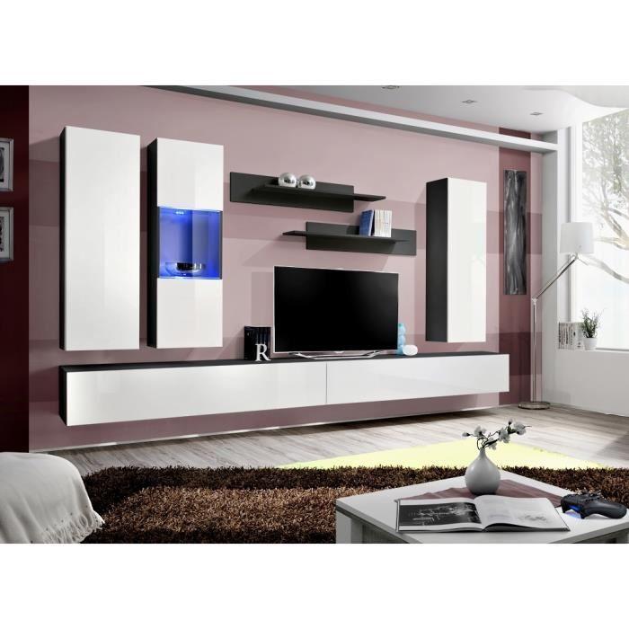 Meuble Tv Fly E5 Design Coloris Noir Et Blanc Brillant Meuble Sus