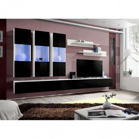 Meuble TV FLY E2 design, coloris blanc et noir brillant. Meuble suspendu moderne et tendance pour votre salon.
