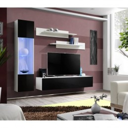 Meuble TV FLY G3 design, coloris blanc et noir brillant. Meuble suspendu moderne et tendance pour votre salon.